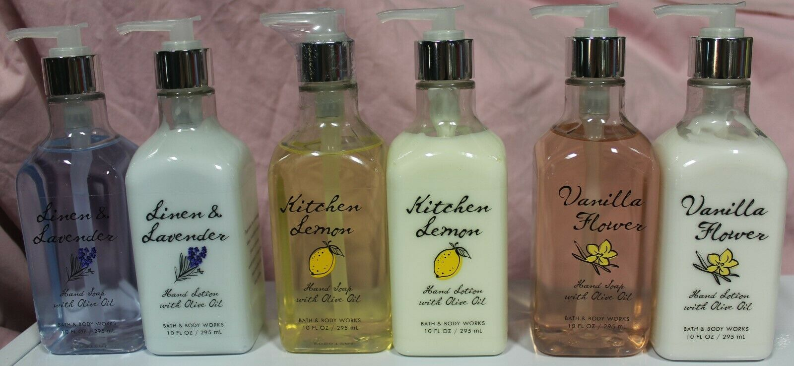 Bath & Body Works Combo Olive Oil Kitchen Lemon Linen & Lavender Vanilla Flower