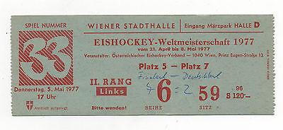 Orig.Ticket   Eishockey WM ÖSTERREICH 1977   FINNLAND - DEUTSCHLAND  !!  SELTEN