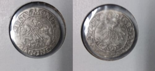 1560 Lithuania- Silver 1/2 Grosz- Armored Knight - 450 years old Nice