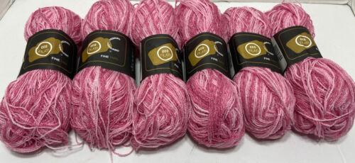LOT Of 6 Eco Filati Cristal Pink Multicolor 3 - Light Fingering Yarn - $8.25