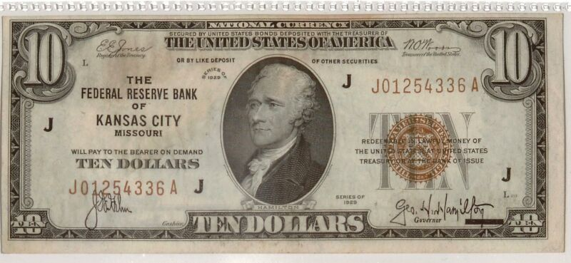 1929 $10 Federal Reserve Bank Note | Small Size Note | Brown Seal | Kansas, J
