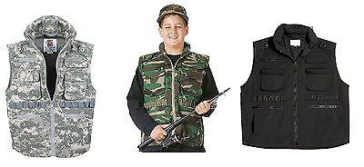 Kids Ranger Vests - Black,Camo & ACU Boys or Girls Adventure/Fishing Vest XS-XL Kids Black Ranger Vest