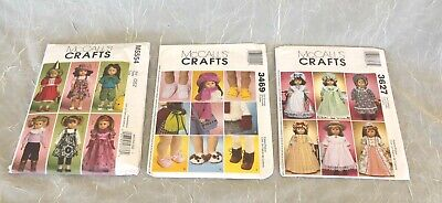 AMERICAN GIRL DOLL CLOTHES - LOT OF 3 MCCALL'S SEWING PATTERNS FOR 18