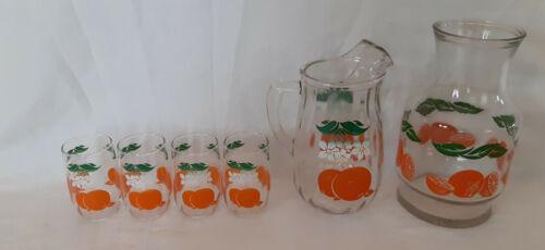 Vintage Beautiful Glass Orange Juice Pitcher & Carafe & 4 Juice Glasses