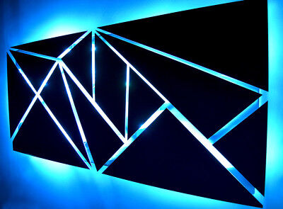 Modern Large Geometric Abstract Metal Wall Art LED Painting Smartphone Control