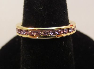 SIZE 9 14KT GOLD EP STACKABLE JUNE LIGHT AMETHYST WEDDING ETERNITY 3MM RING