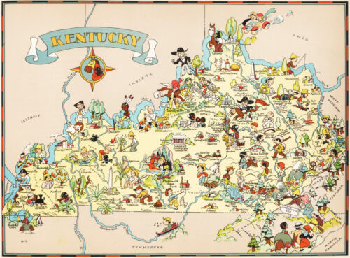 Canvas Reproduction Vintage Pictorial Map of Kentucky Print Ruth Taylor 1935