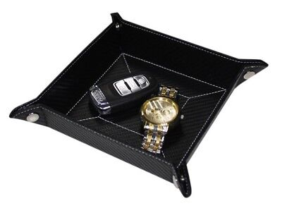 Jewelry Wallet - BLACK CARBON FIBER COIN TRAY CATCHALL KEYS PHONE JEWELRY WALLET VALET MENS GIFT