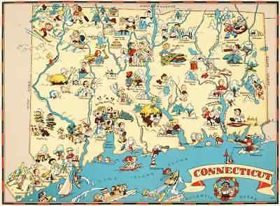 - Canvas Reproduction Vintage Pictorial Map of Connecticut Print Ruth Taylor 1935