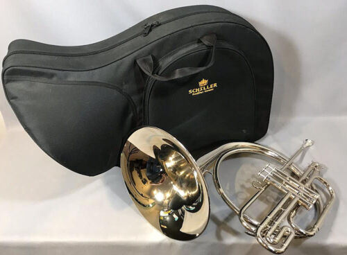 Schiller Marching French Horn, Nickel Finish, Just Serviced, Made in Germany