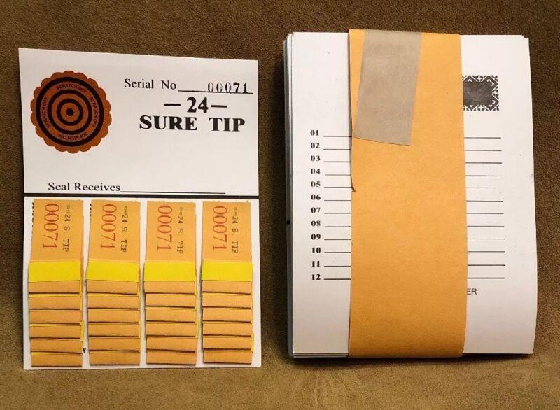 1 Dozen 24 SURE TIP BOARDS, Raffle Tickets, Jar Tickets, All Tips, Raffles