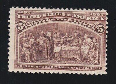 US 234 5c Columbian Exposition Mint Fine OG H SCV $50