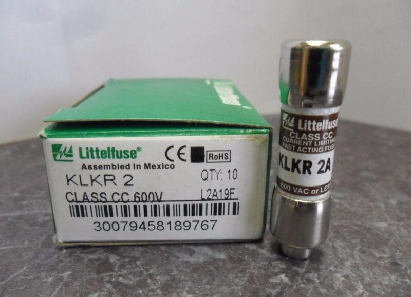 New Lot Littelfuse KLKR 2 Amp Fuses Bussmann KTK R 2 Class CC 600 Volts NIB