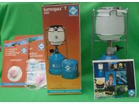 "Vintage Lumogaz T206 Portable Lamp 3 spare mantels - 10"" Tall"