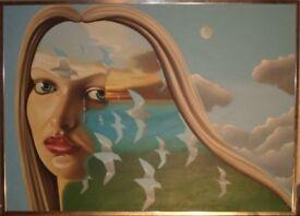 "Retro ""Anthony John Gray"" Original Oil On Canvas ""The Lost Horizon"" Early Work 1979"