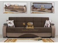 Super Persian Turkish Fabric Sofa Bed With Storage Pocket Spring Seat Black Brown