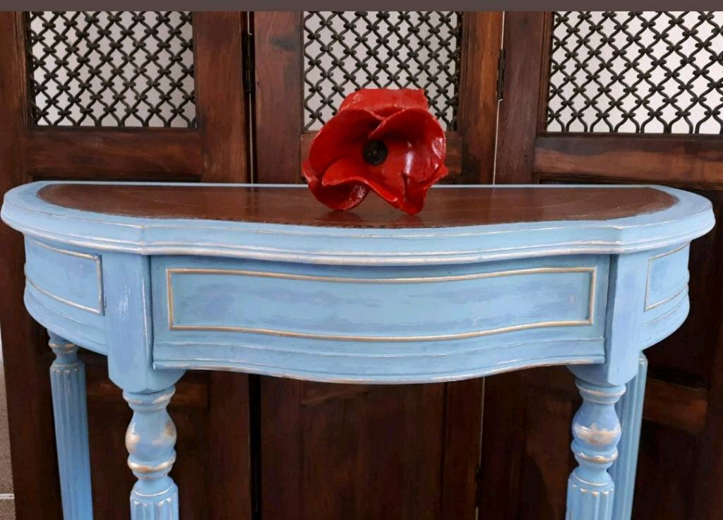 Vintage Chalk Painted Blues & Gold Demi Lune Side/Hall Console Table ...