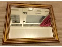 GOLD HALLWAY MIRROR, WALL HANGING, GOLD DETAILED FRAME, 11 x 14 inches