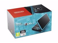 'New' Nintendo 2DS XL console (Black and Turquoise) with grip, charger and games.