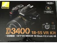NIKON D3400, 18-55 VR KIT (200mm VR LENS INCLUDED)