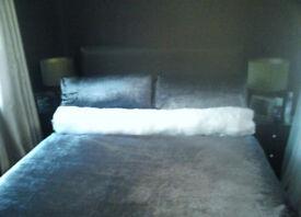 "Satin Diamante Finish Luxury 53"" Long White Faux Fur Roll Bolster Cushion."