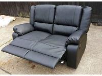 Brand New Bruno Leather Effect Regular Manual Recliner Sofa - Black.