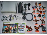 Xbox 360 60gb with wireless controller, games, skylanders and more!!!