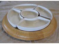 Lazy Suzy - Pine Base and 5 Ceramic Dishes