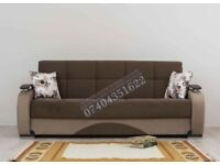 Hand Made Turkish Sofa Bed 3 Seater Fabric with Storage Sofabed