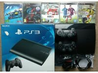 Sony PS3 SuperSlim 160GB Playstation with 2 wireless controllers 5 games FIFA 17 GT5 FREE DELIVERY*