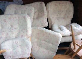 ERCOL JUBILEE CUSHIONS 2 x 2 Seater Settees + Chair
