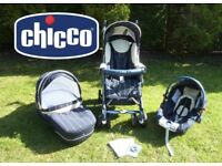 Like New! Chicco C1 Trio, 3 in 1, Stroller, Carrycot and Car Seat Travel System - £145