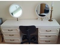 White Dressing Table with 6 Drawers and 2 Revolving Mirrors and 2 Chests Of Drawers Set £150 ONO