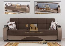 BRAND NEW Persian Fabric 3, 2, 1 Seater Sofa Bed with Ottoman Storage, Sofabed Settee in Brown Black