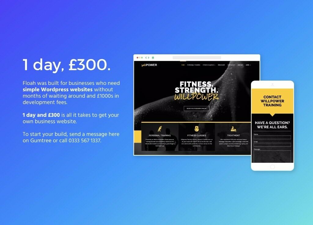 1 day website design and development for £300 (based in Bristol)