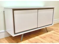 Modern White Sideboard with Glass Shelves - Tempered Glass, Premier Exclusive Range