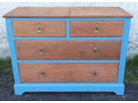 SOLID VINTAGE/ANTIQUE CHEST OF 4 DRAWERS OAK PAINTED SHABBY CHIC