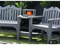 Love Bench solid teak chairs in grey