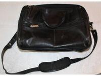 Fellowes genuine leather black laptop bag