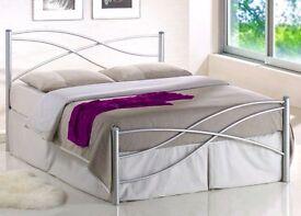 NEW KIAN 4ft6 Double Italian design Silver Metal bed