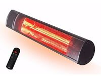 Futura Deluxe Electric Infrared Outdoor Garden Patio Heater 2000W, Waterproof, Remote Control