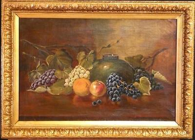Vintage oil painting by SMITH F. - Still Life with fruits