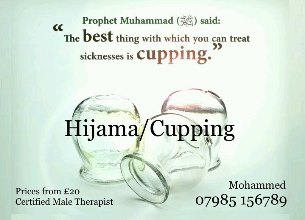 Hijama/Wet Cupping MaleFemale therapistsin Small Heath, West MidlandsGumtree - Mobile Hijama Cupping service within Birmingham Certified male and female therapists Mobile service from the comfort of your own home £25 consultation and treatment, which includes 4 cups. Each additional cup £2.50 thereafter£5 discount if you...