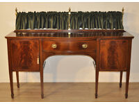 Large Wide Antique Victorian Flame Mahogany Sideboard Cabinet With Brass Gallery