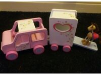 Wooden dolls play sets - horse, jeep & horsebox, garage & 2 cars & garden sets