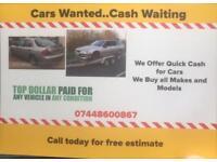 SCRAP CARS AND VANS 4x4s gas diesel or petrol cash paid