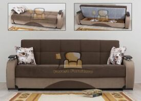 BRAND NEW Persian Fabric 3 Seater Sofa Bed with Ottoman Storage, Large Settee in Black / Brown Color