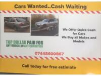 Scrap cars and vans wanted cash paid on same day collection diesel or petrol and gas