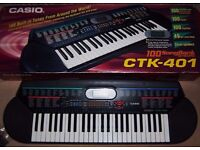 VINTAGE CASIO CTK-401 ELECTRIC KEYBOARD - HARDLY USED & STILL IN PERFECT WORKING ORDER & CONDITION