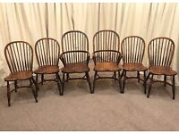 6 Windsor Chairs Crinoline Stretchers Farmhouse Kitchen Chairs Dining Chairs